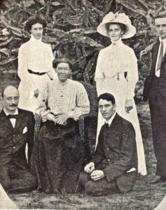 Mary Mitchell Slessor is seated in group of early missionaries in Calabar.