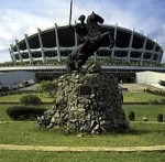 National Theatre and Queen Amina  (original statue  by Ben Ekanem 1977) -photo from Wikipedia
