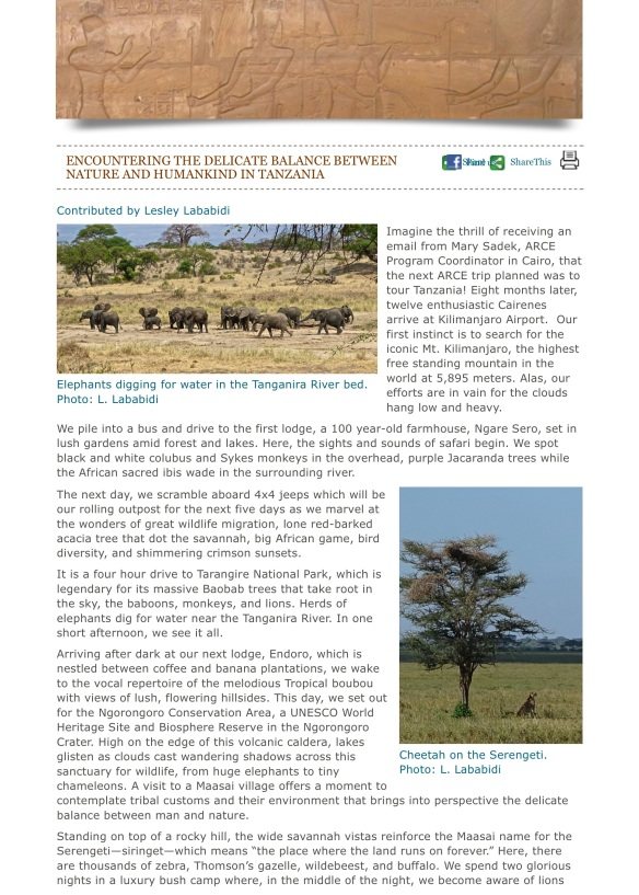 Encountering the Delicate Balance between Nature and Humankind in Tanzania | American Research Cente-001