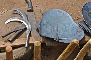 scythe, machete (cutlass), shovel