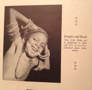 example o twisted bangles on upper arm. Nig. Mag. #30 1949