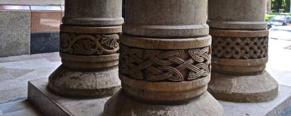 bas-relief on pillars at St. Theresa Church