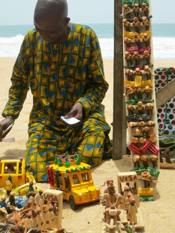 trader from Ibadan at beach on a Sunday afternoon