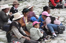 Family resting after pilgrimage
