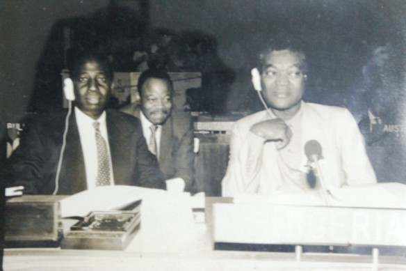 (L) Dr. Gabi Williams, Federal Director, International Health and Disease Control (R) Late Professor Olikoye Ransome-Kuti, Federal Minister of Health at a conference of the World Health