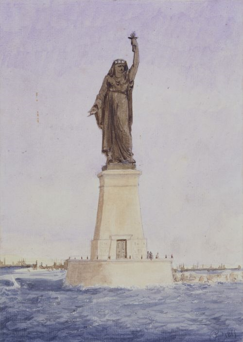 Statue of Liberty creator Frédéric Auguste Bartholdi's original design for the mouth of the Suez Canal in Egypt.